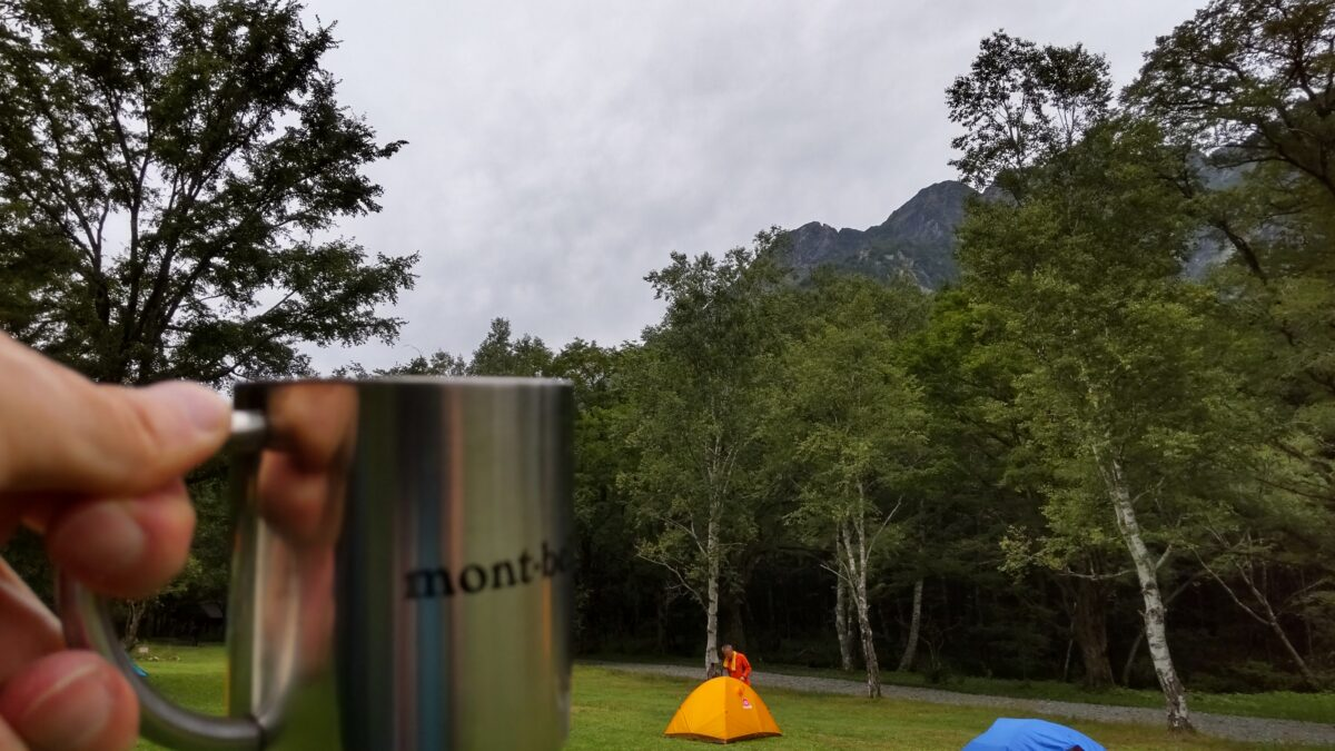 テントで穂高連峰を眺めながらのコーヒータイム