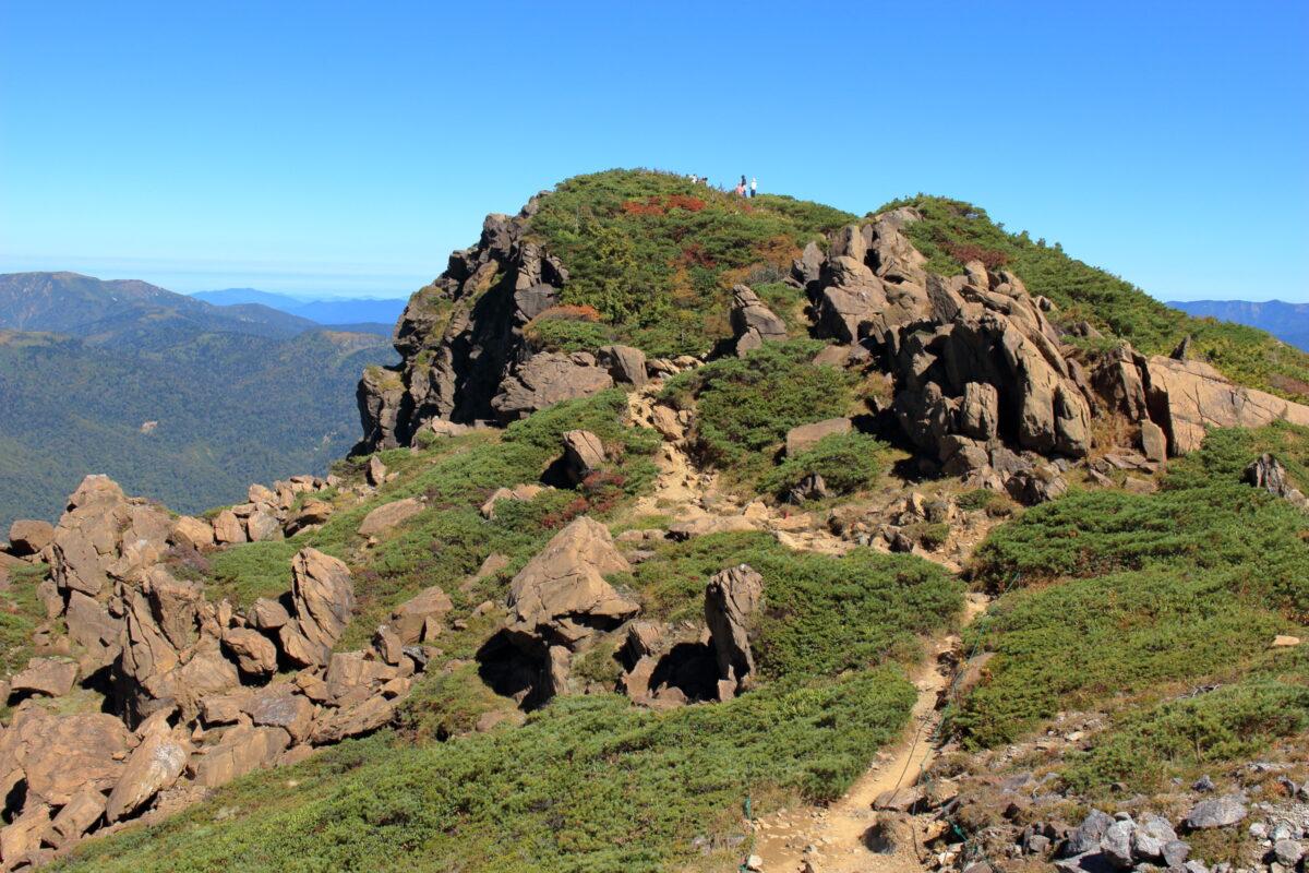 稜線からみた至仏山の山頂