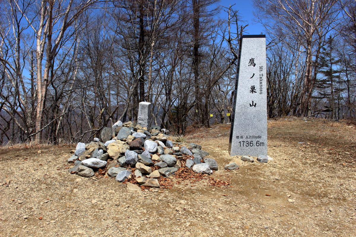 鷹ノ巣山山頂の標柱