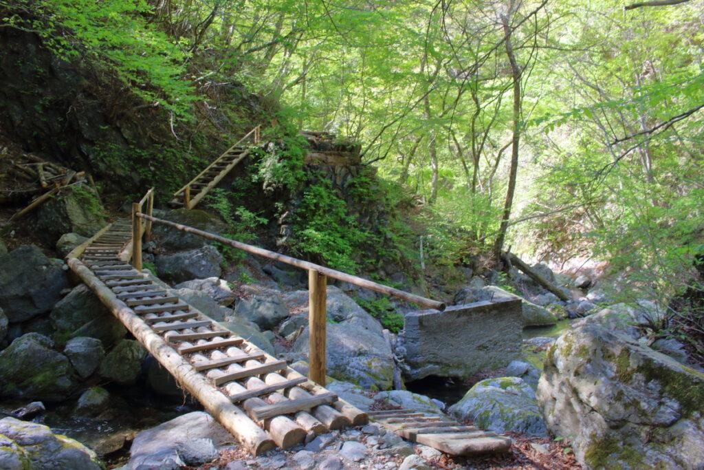 沢を渡る木の階段