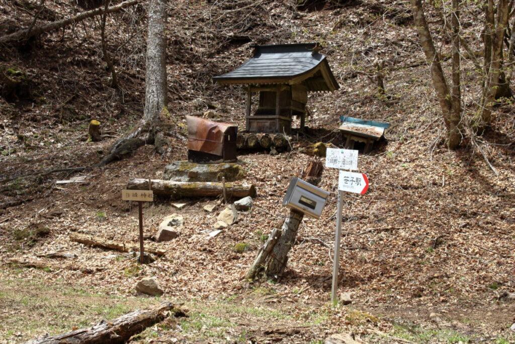山の斜面にある小さな神社