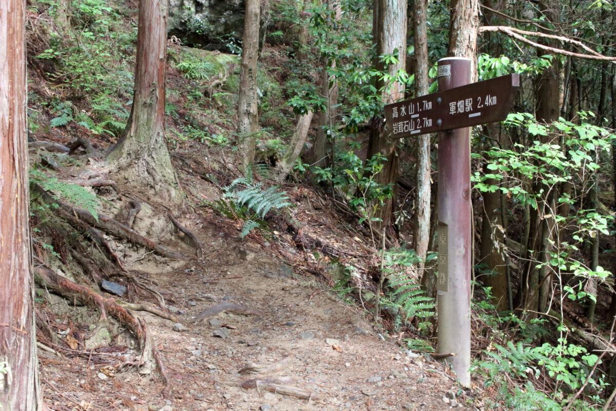 高水山・岩茸石山への道標