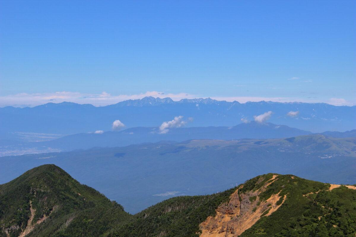 横岳稜線からの穂高連峰と槍ヶ岳
