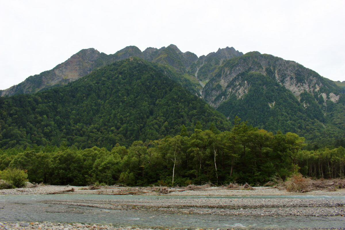遊歩道から眺める穂高連峰