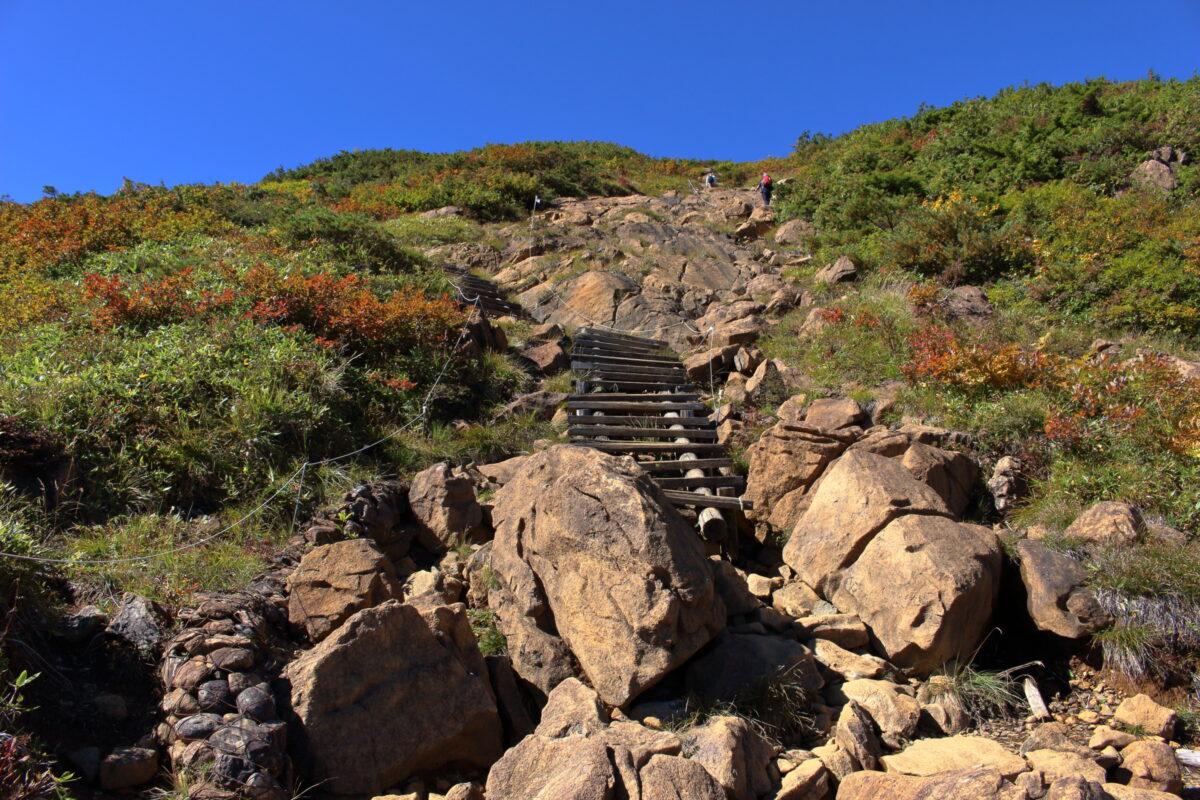 なかなか稜線にたどり着かない山ノ鼻ルート